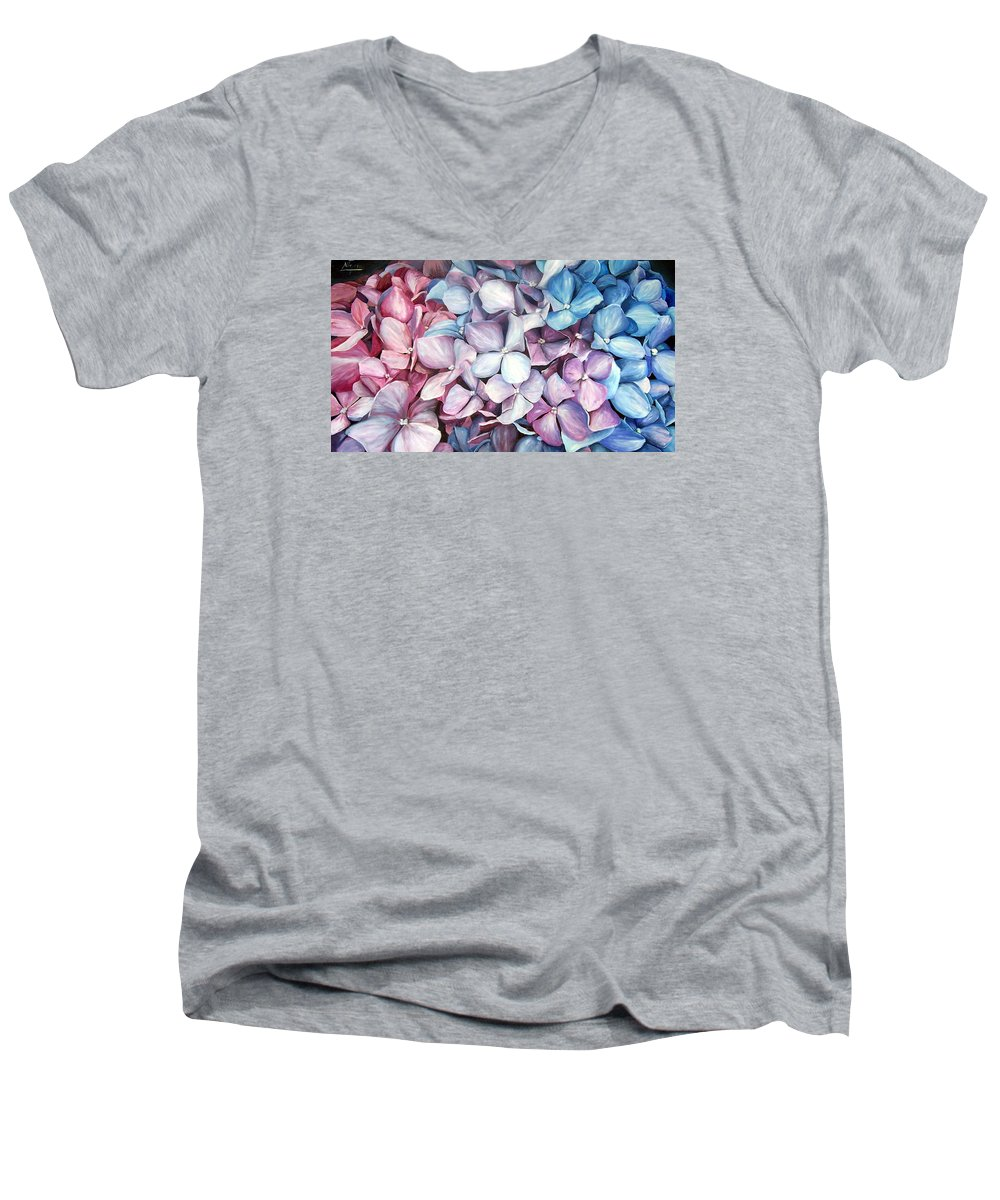 Flowers Nature Blue Violet Macro Men's V-Neck T-Shirt featuring the painting Hortensias by Natalia Tejera
