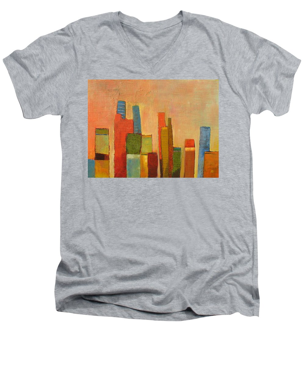 Abstract Cityscape Men's V-Neck T-Shirt featuring the painting Hot Manhattan by Habib Ayat