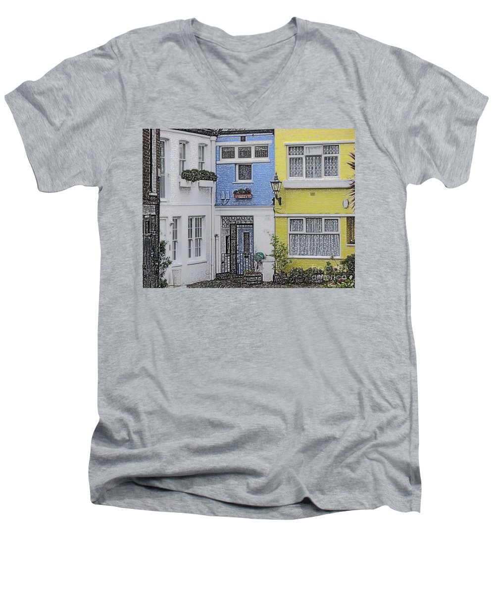 House Men's V-Neck T-Shirt featuring the photograph Houses by Amanda Barcon