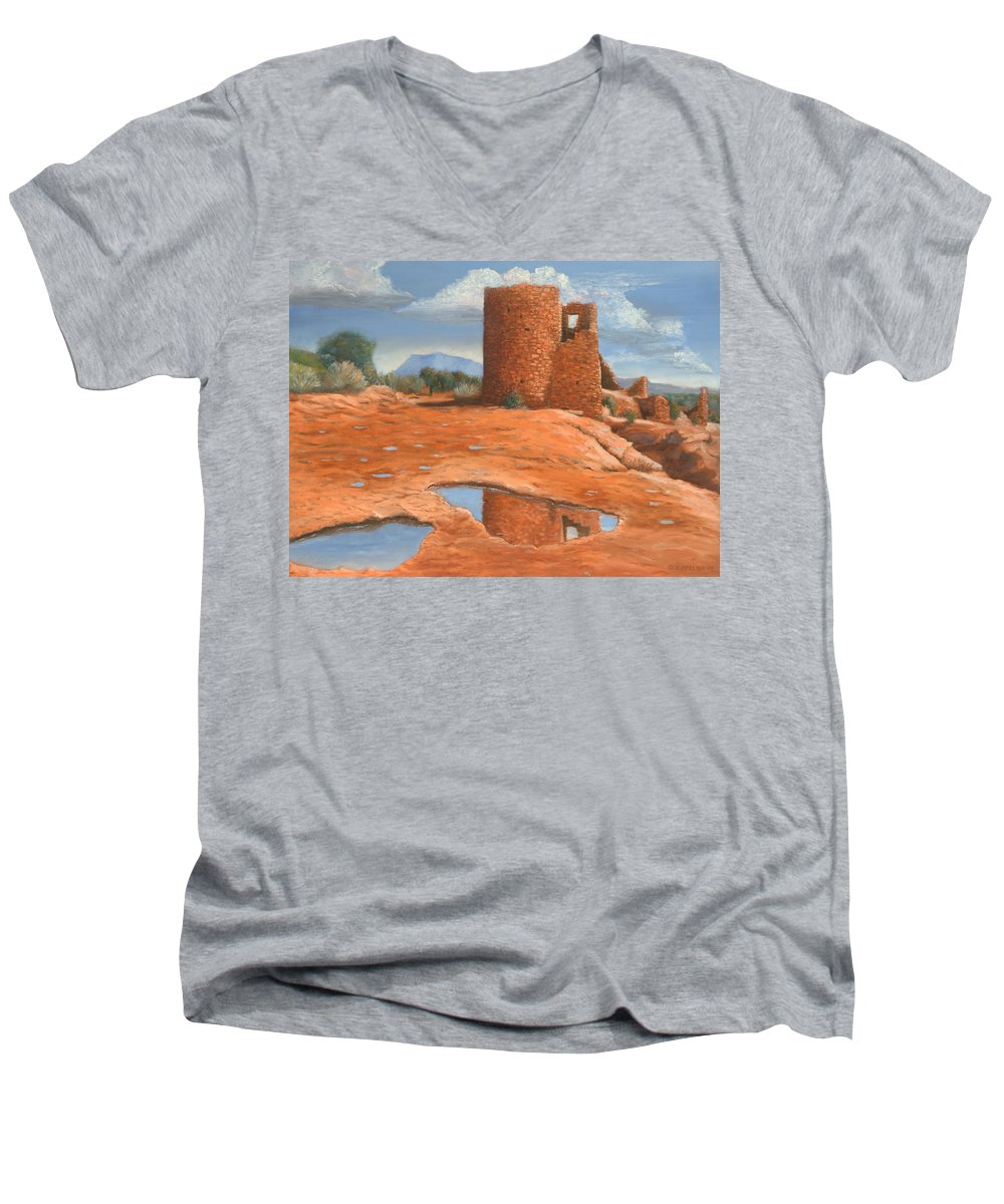 Anasazi Men's V-Neck T-Shirt featuring the painting Hovenweep Reflection by Jerry McElroy
