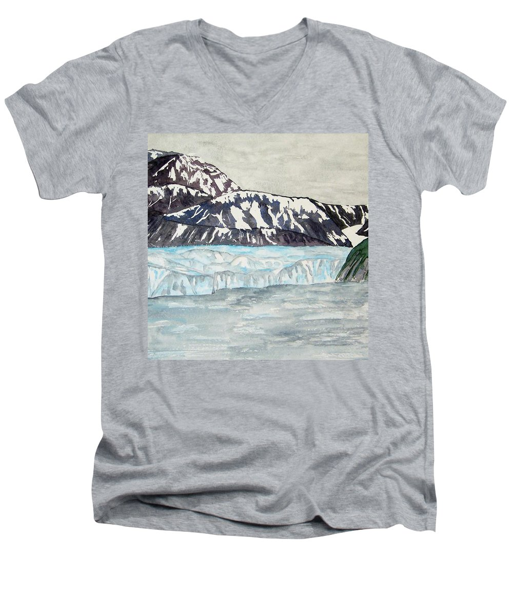 Glacier Men's V-Neck T-Shirt featuring the painting Hubbard Glacier In July by Larry Wright