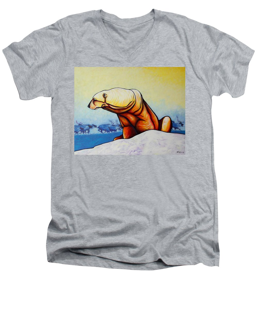 Wildlife Men's V-Neck T-Shirt featuring the painting Hunger Burns - Polar Bear And Caribou by Joe Triano