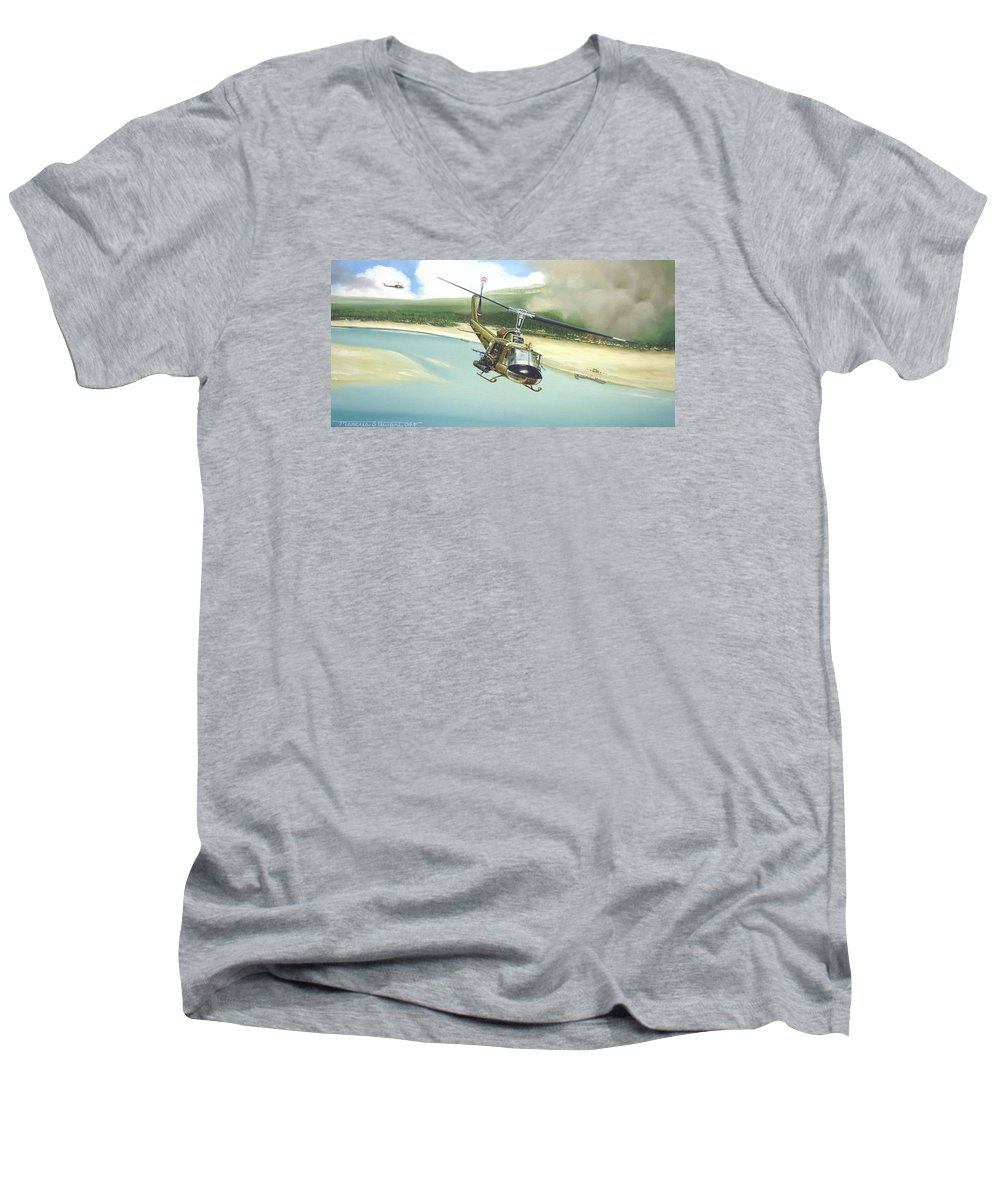 Military Men's V-Neck T-Shirt featuring the painting Hunter Hueys by Marc Stewart