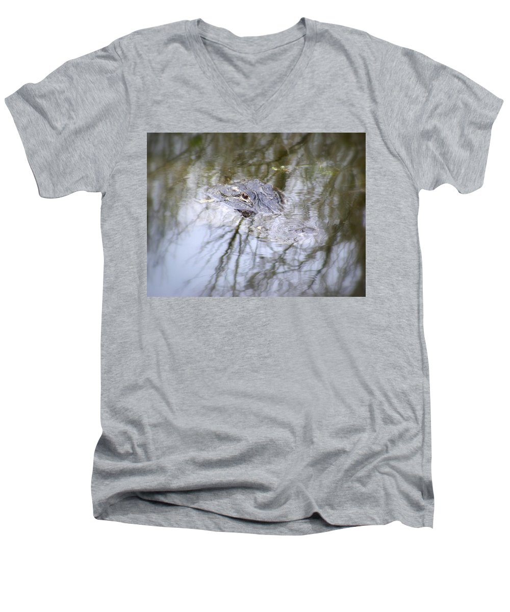Alligator Men's V-Neck T-Shirt featuring the photograph I Am Watching by Ed Smith