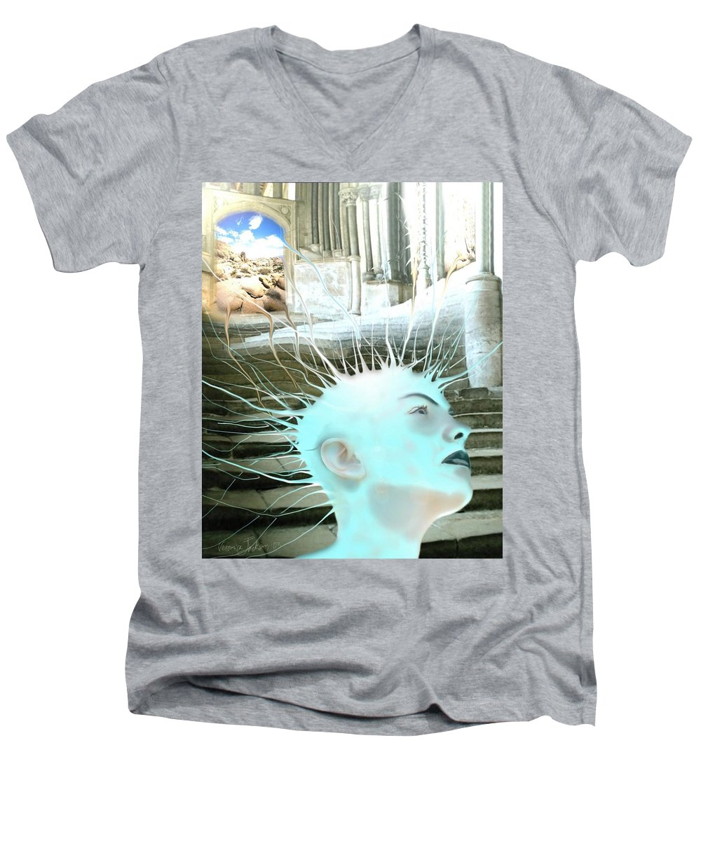 Thoughts Stairs Energy Space Men's V-Neck T-Shirt featuring the digital art I by Veronica Jackson