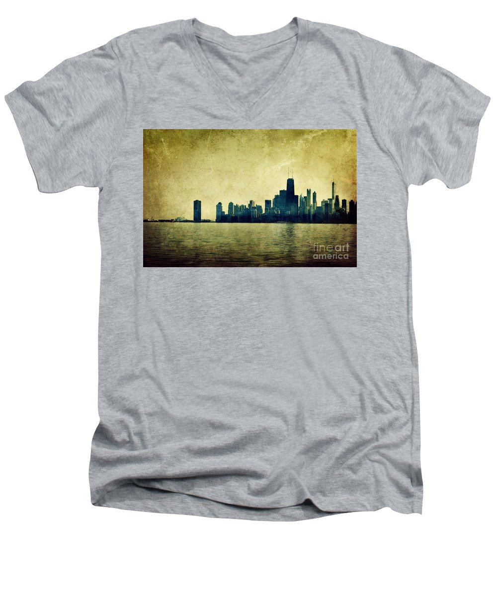 Dipasquale Men's V-Neck T-Shirt featuring the photograph I Will Find You Down The Road Where We Met That Night by Dana DiPasquale
