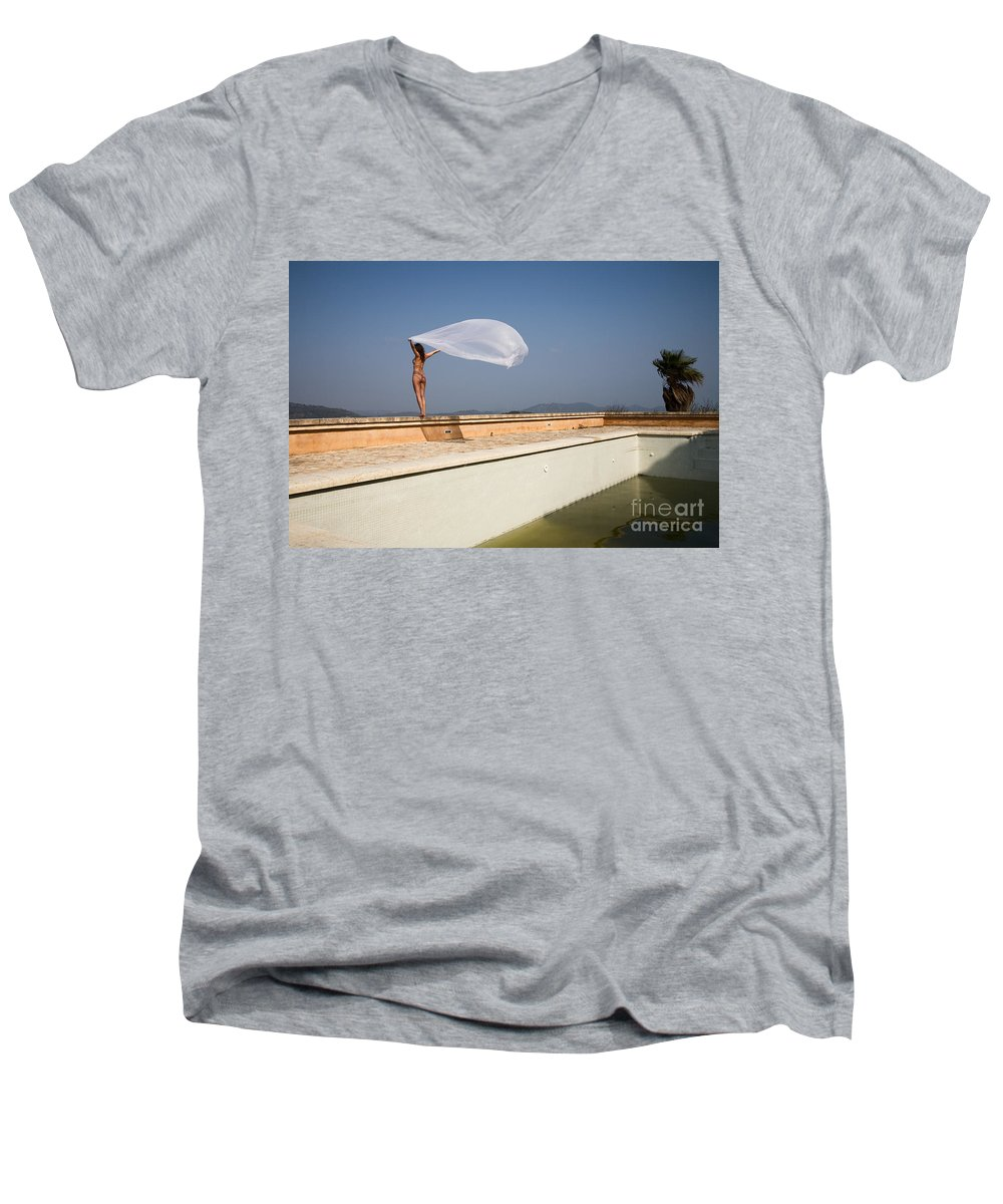 Sensual Men's V-Neck T-Shirt featuring the photograph I Will Fly To You by Olivier De Rycke