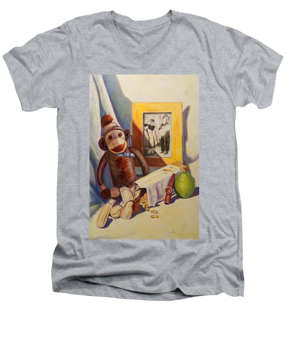 Children Men's V-Neck T-Shirt featuring the painting I Will Remember You by Shannon Grissom