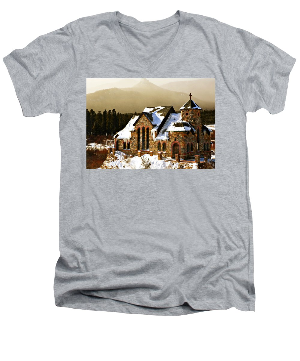 Americana Men's V-Neck T-Shirt featuring the photograph Icicles by Marilyn Hunt