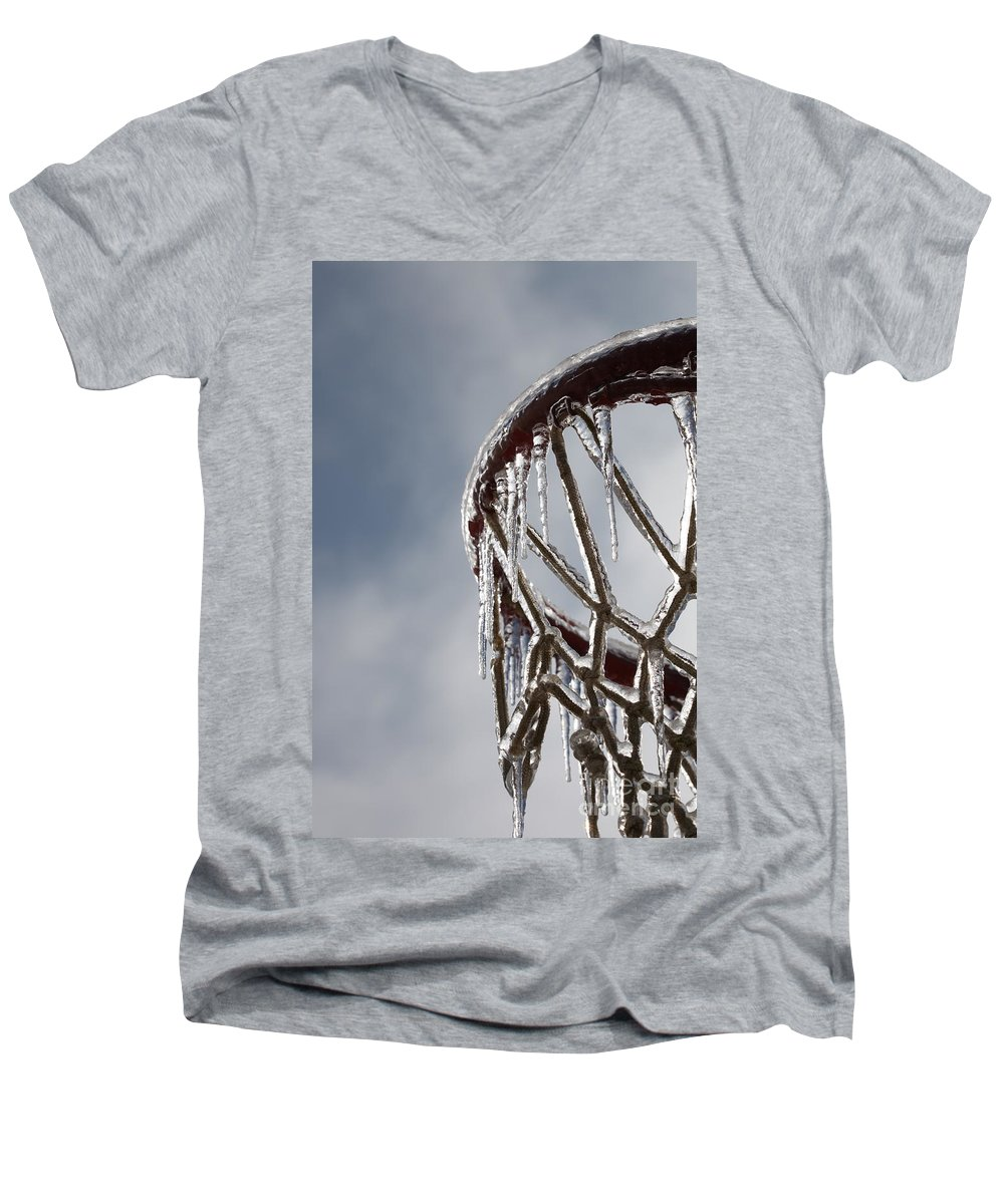 Basketball Men's V-Neck T-Shirt featuring the photograph Icy Hoops by Nadine Rippelmeyer