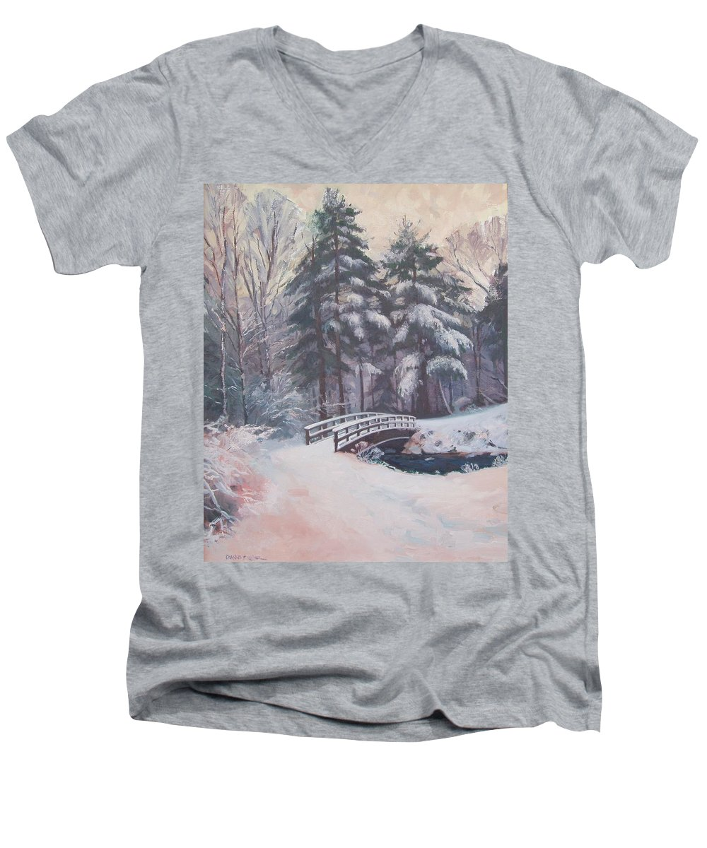 Landscape Men's V-Neck T-Shirt featuring the painting Icy Stream by Dianne Panarelli Miller