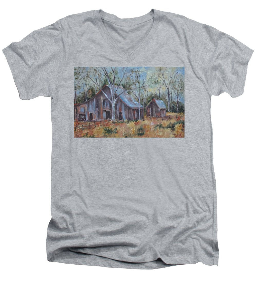 Barns Men's V-Neck T-Shirt featuring the painting If They Could Speak by Ginger Concepcion