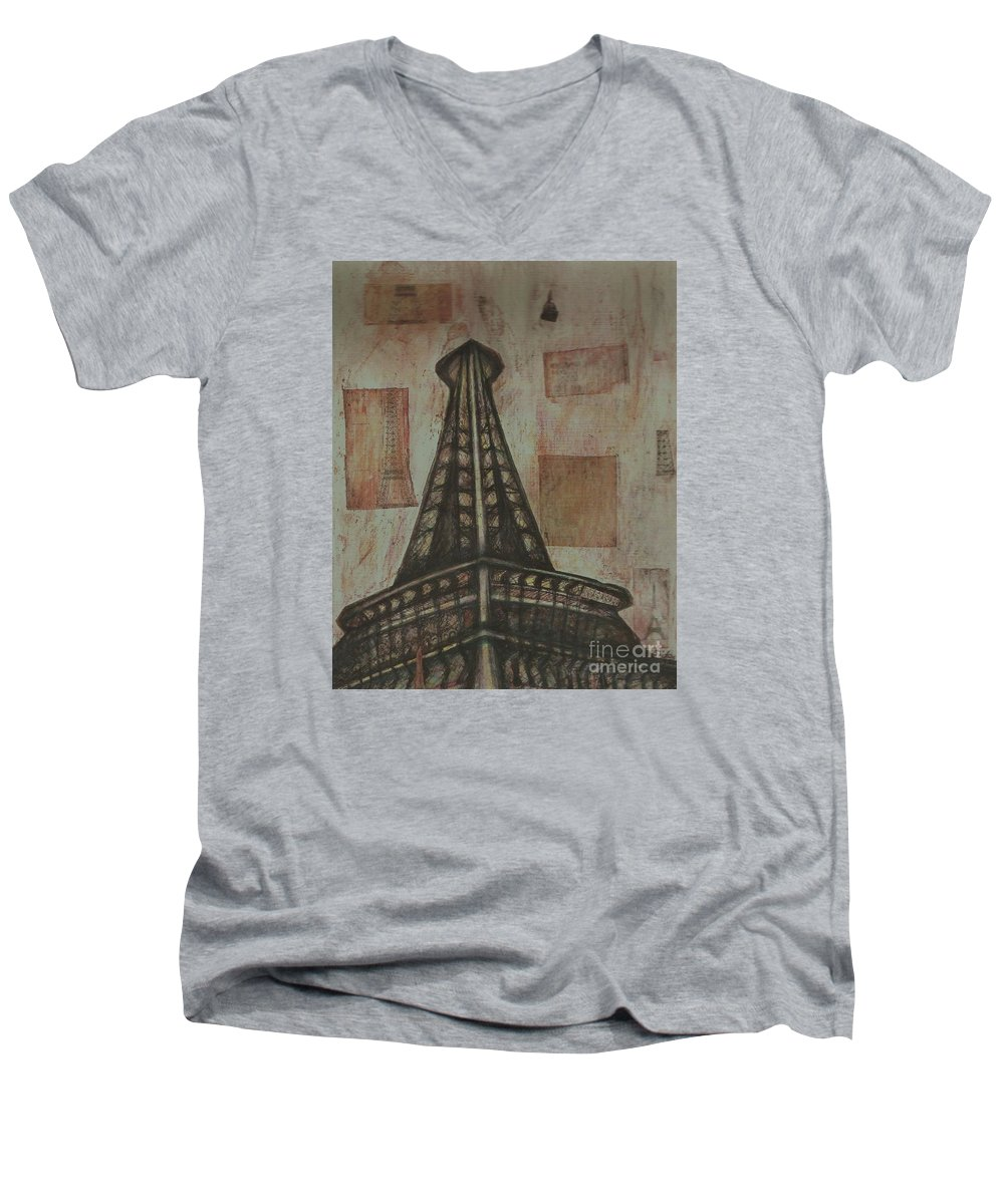 Structures Men's V-Neck T-Shirt featuring the painting Iffel Tower by Sidra Myers