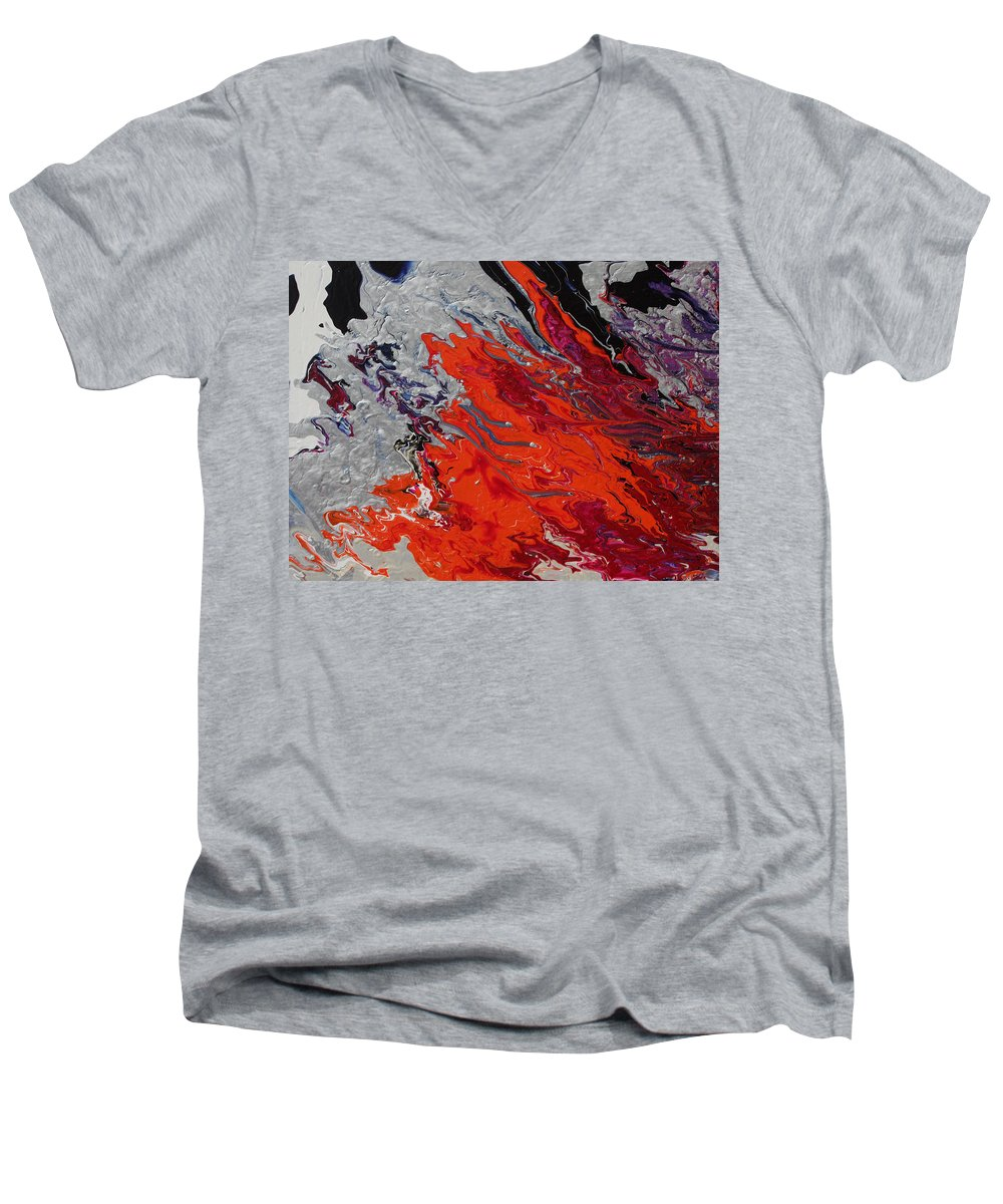 Fusionart Men's V-Neck T-Shirt featuring the painting Ignition by Ralph White