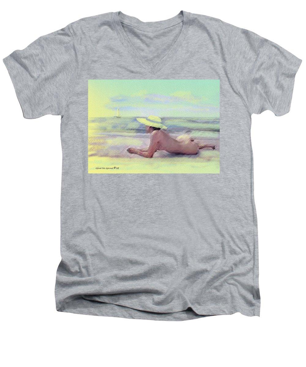 Original Art Men's V-Neck T-Shirt featuring the pastel Imagine by Gina De Gorna