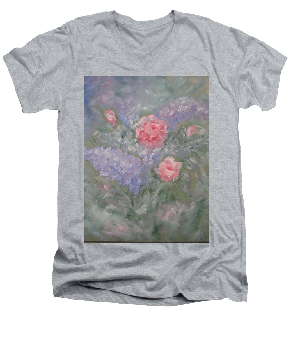 Flowers Men's V-Neck T-Shirt featuring the painting In Bloom by Carrie Mayotte