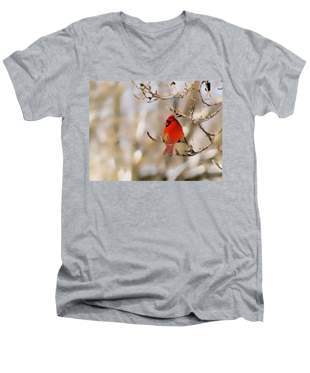 Cardinal Men's V-Neck T-Shirt featuring the photograph In Red by Gaby Swanson