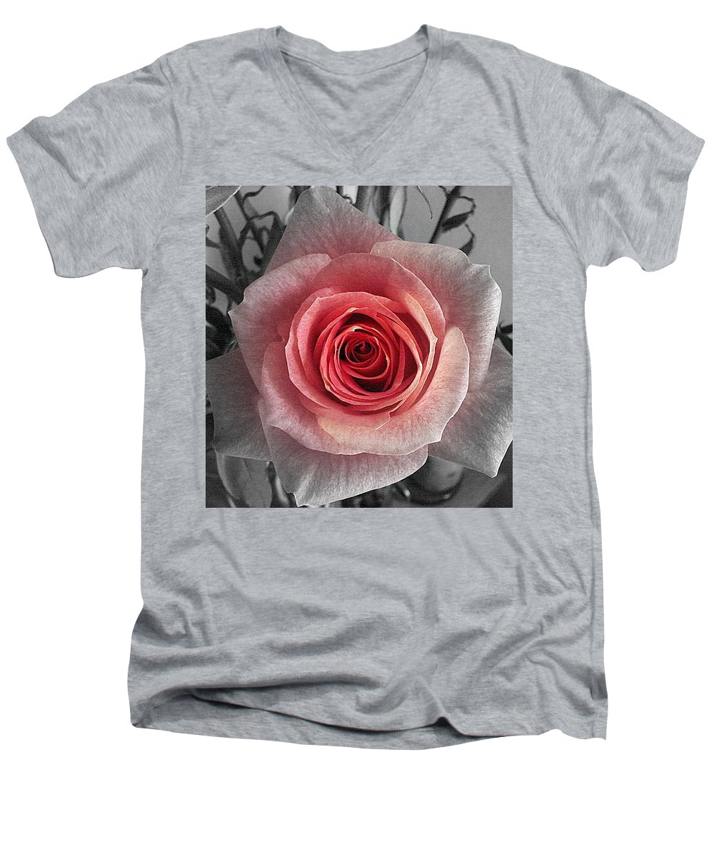 Rose Red Blackandwhite Men's V-Neck T-Shirt featuring the photograph In The Center by Luciana Seymour