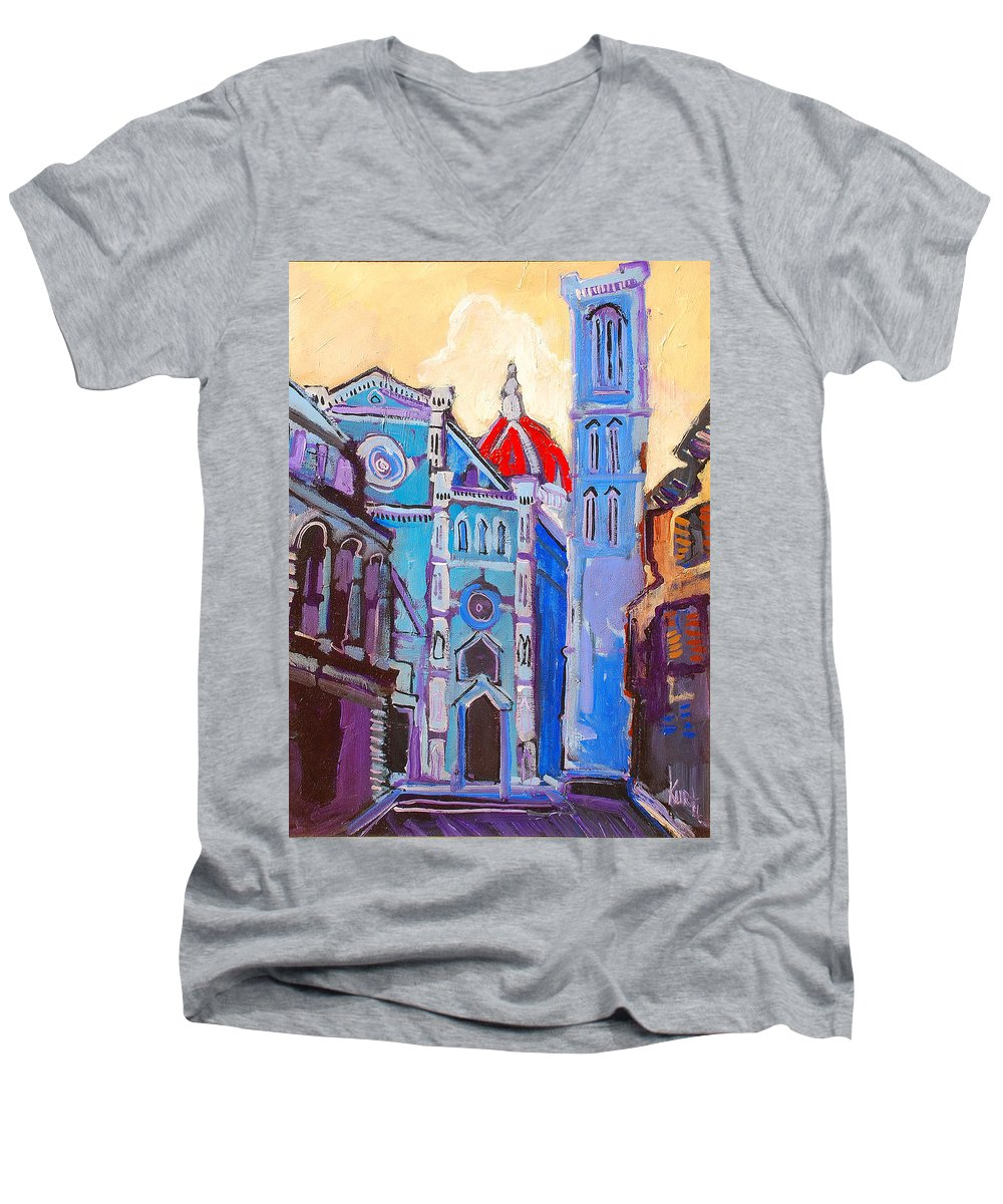 Florence Men's V-Neck T-Shirt featuring the painting In The Middle Of by Kurt Hausmann