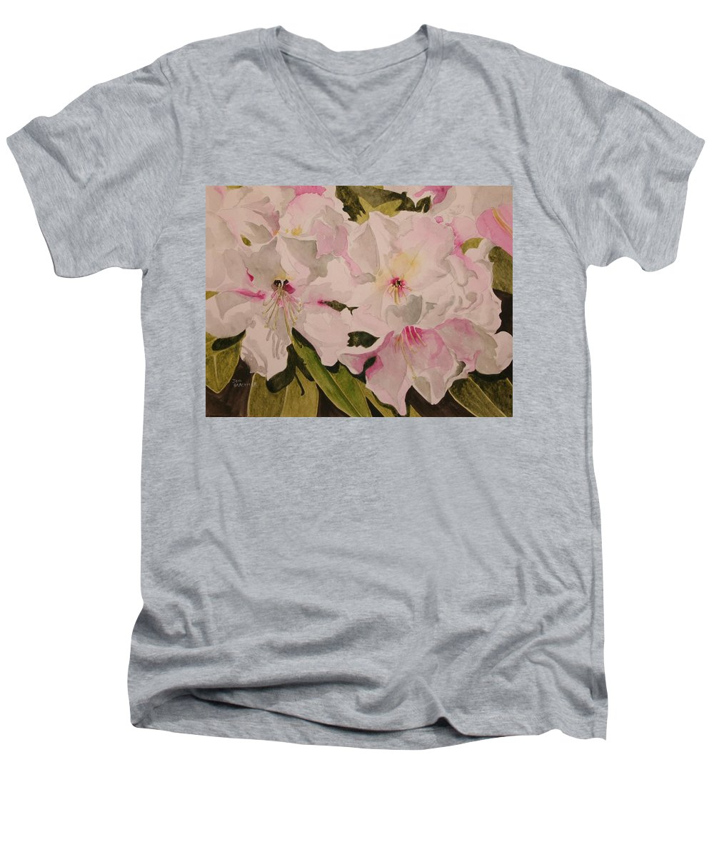 Pink Men's V-Neck T-Shirt featuring the painting In The Pink by Jean Blackmer