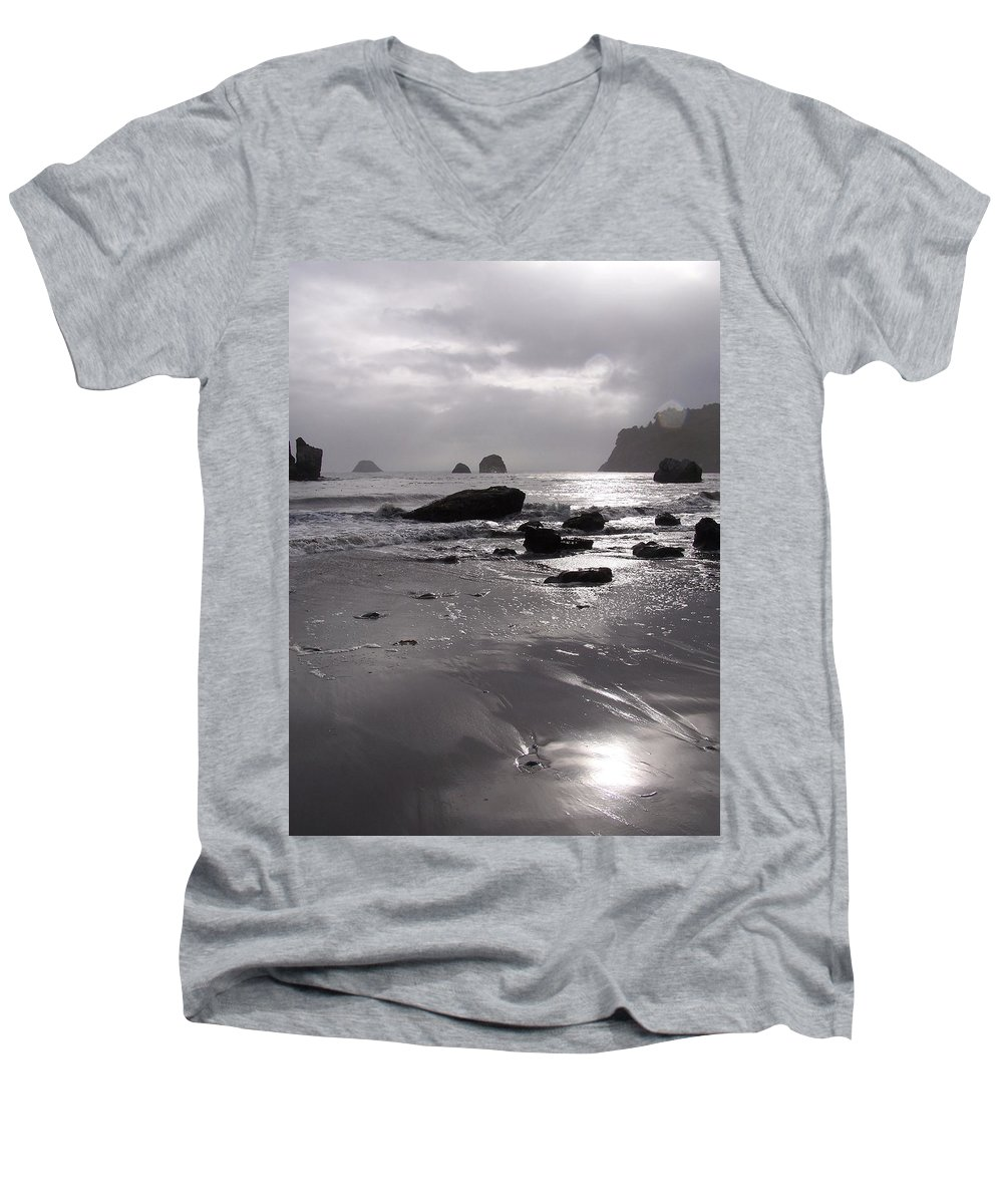 Beach Men's V-Neck T-Shirt featuring the photograph Indian Beach by Gale Cochran-Smith