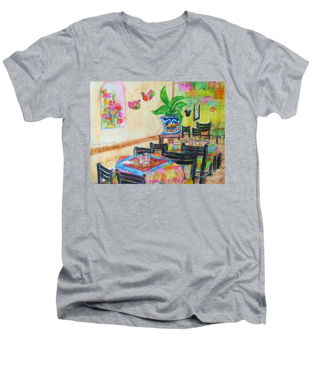 Watercolor Men's V-Neck T-Shirt featuring the painting Indoor Cafe - Gifted by Judith Espinoza