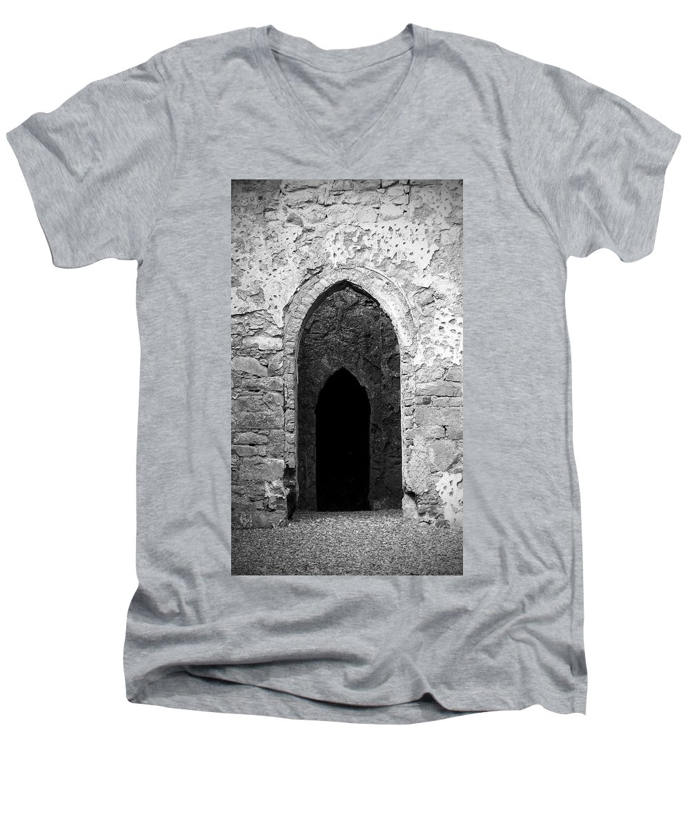 Ireland Men's V-Neck T-Shirt featuring the photograph Inner Sanctum Fuerty Church Roscommon Ireland by Teresa Mucha