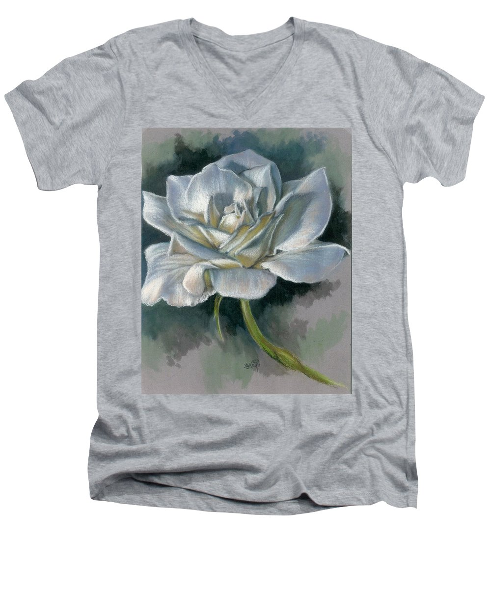 Rose Men's V-Neck T-Shirt featuring the mixed media Innocence by Barbara Keith