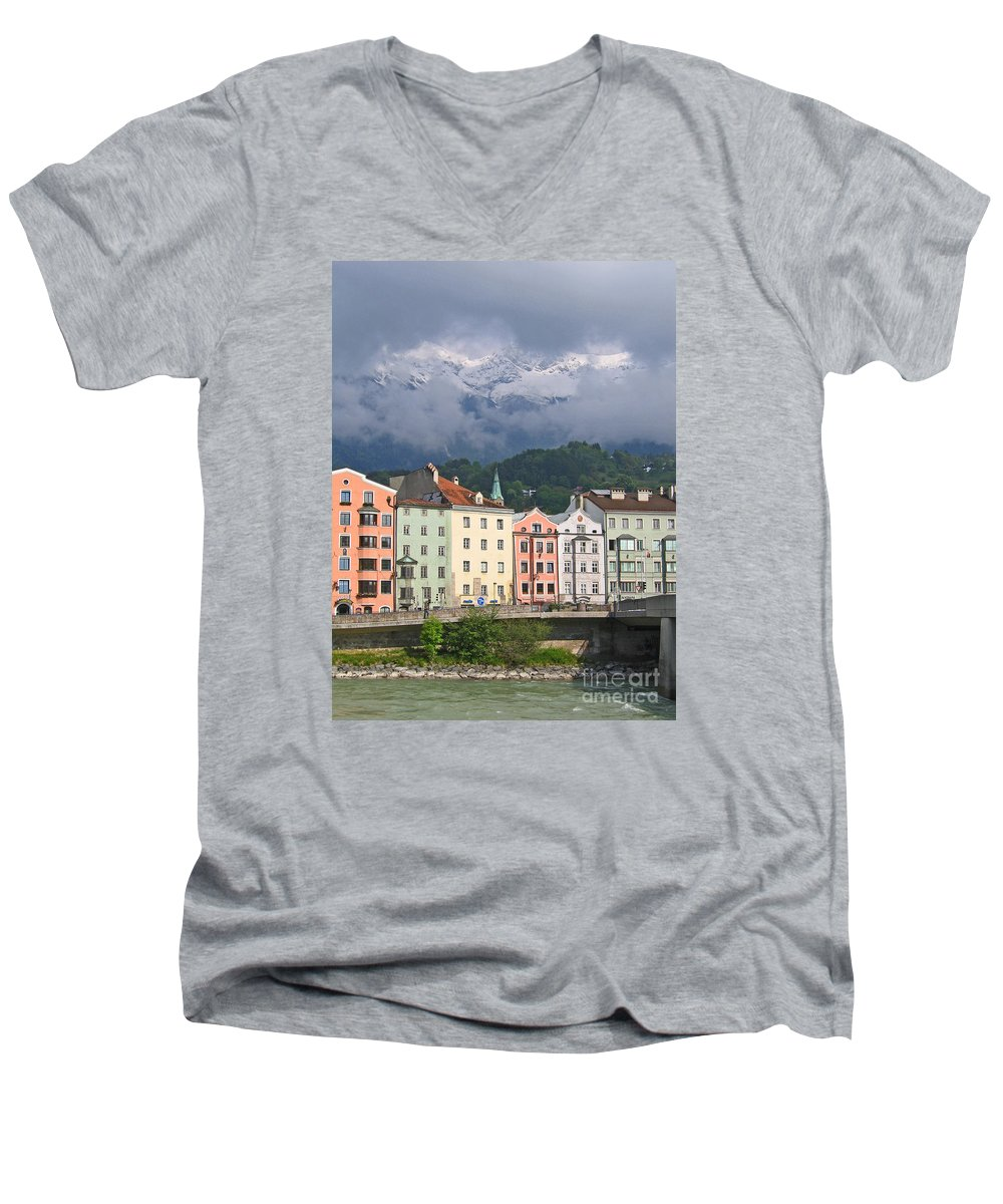 Innsbruck Men's V-Neck T-Shirt featuring the photograph Innsbruck by Ann Horn