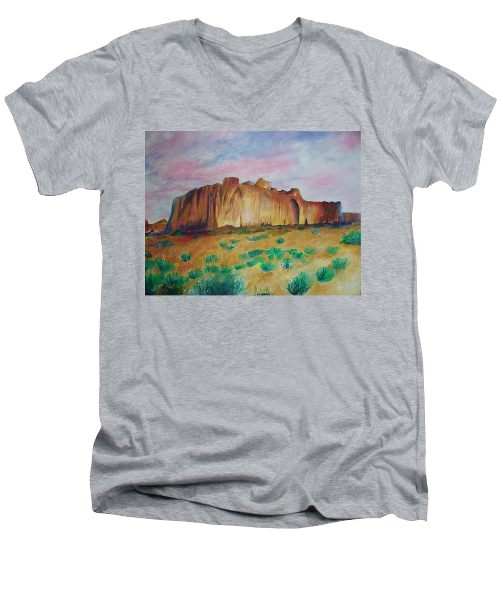 Western Landscapes Men's V-Neck T-Shirt featuring the painting Inscription Rock by Eric Schiabor