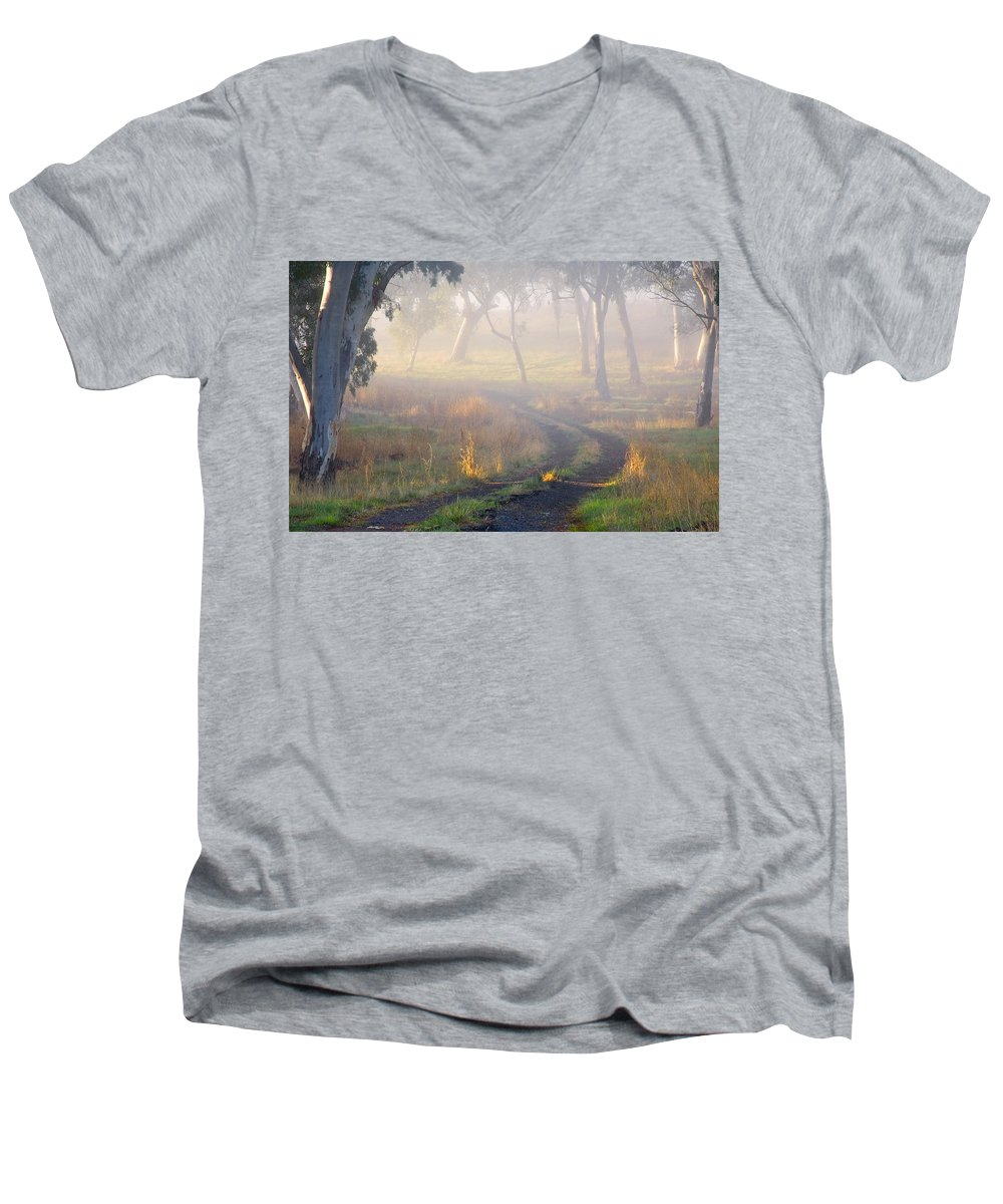 Mist Men's V-Neck T-Shirt featuring the photograph Into The Mist by Mike Dawson