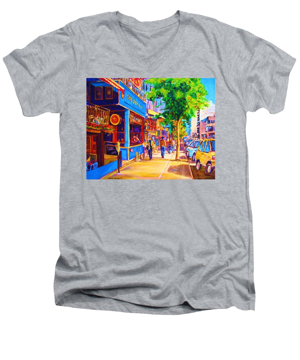 Irish Pub On Crescent Street Montreal Street Scenes Men's V-Neck T-Shirt featuring the painting Irish Pub On Crescent Street by Carole Spandau