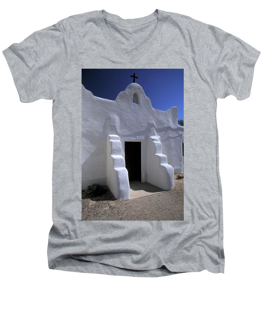 Adobe Men's V-Neck T-Shirt featuring the photograph Isleta by Jerry McElroy
