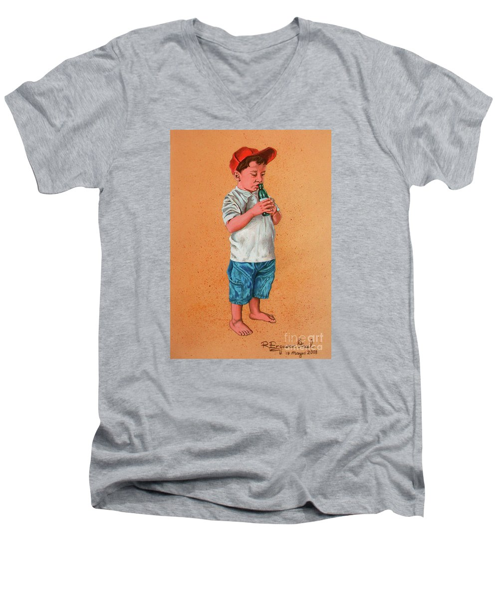 Summer Men's V-Neck T-Shirt featuring the painting It's A Hot Day - Es Un Dia Caliente by Rezzan Erguvan-Onal