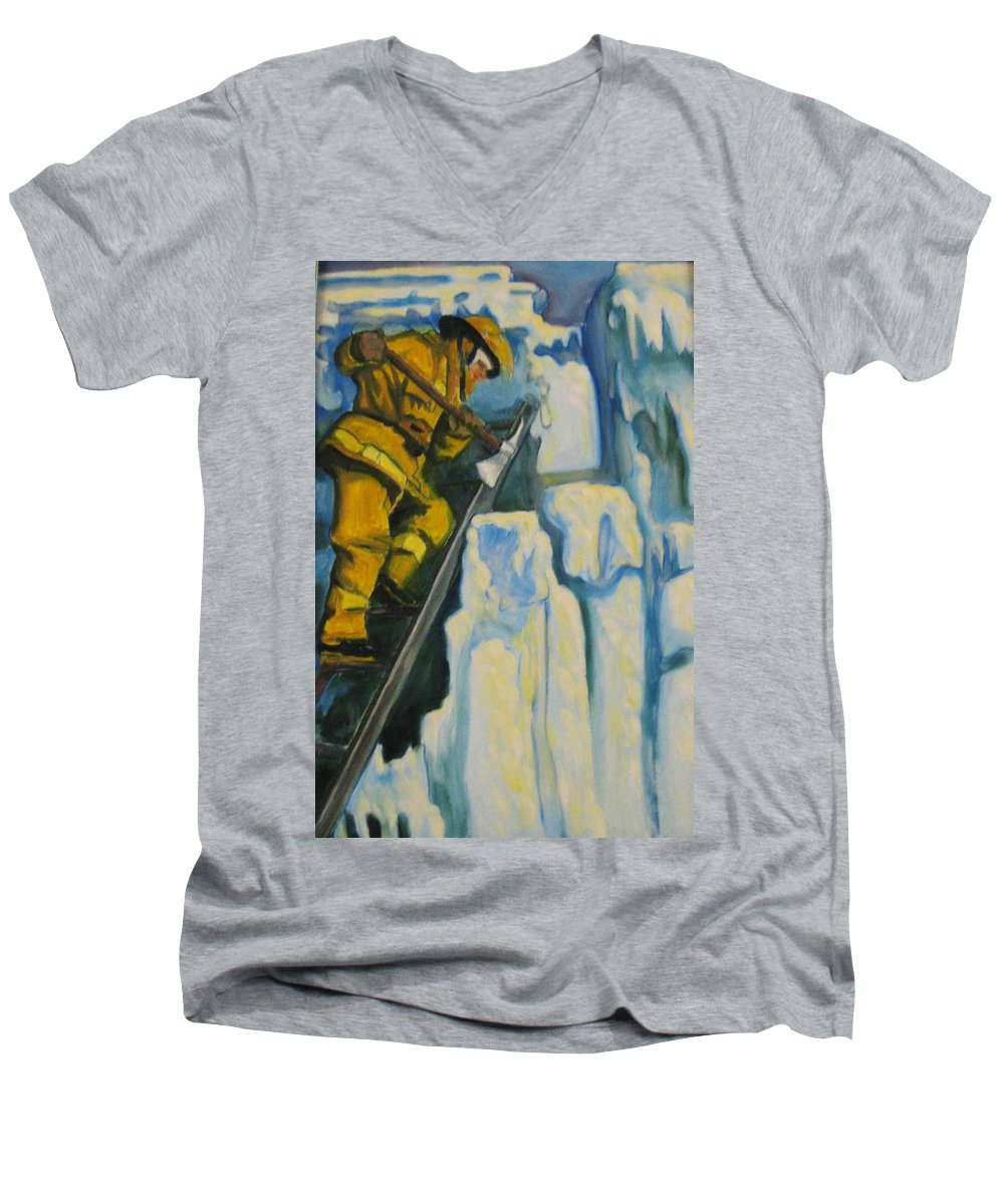 Firefighters Men's V-Neck T-Shirt featuring the painting Its Not Over Till Its Over by John Malone