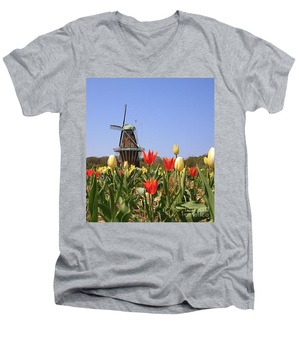 Tulips Men's V-Neck T-Shirt featuring the photograph Its Tulip Time by Robert Pearson