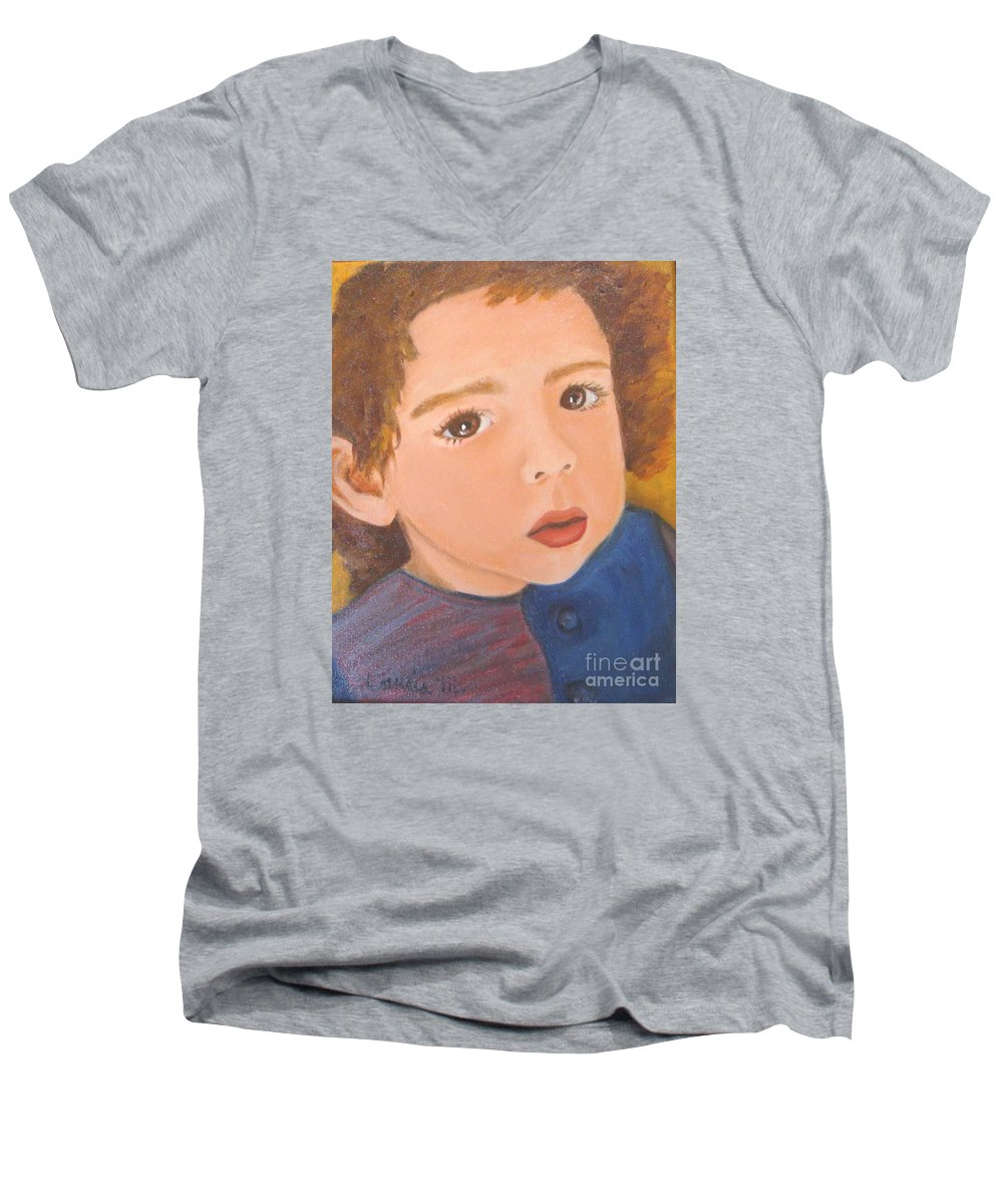 Portrait Men's V-Neck T-Shirt featuring the painting Jackson by Laurie Morgan