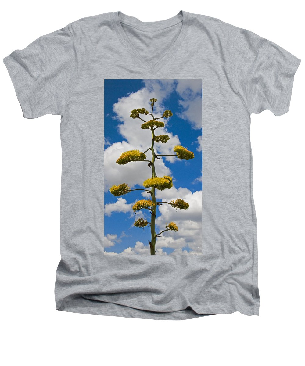 Blue Men's V-Neck T-Shirt featuring the photograph Jacobs Ladder by Skip Hunt