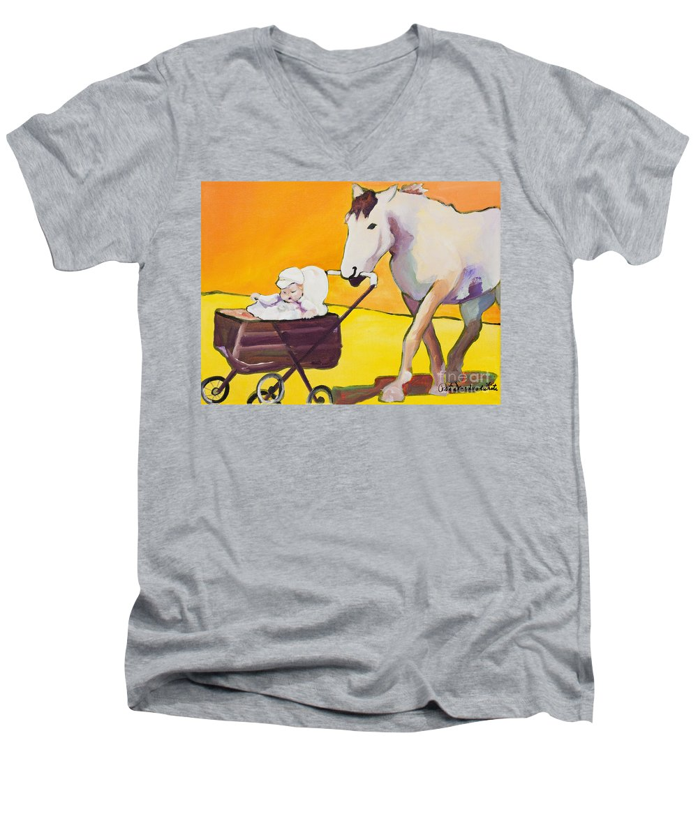 Animal Men's V-Neck T-Shirt featuring the painting Jake by Pat Saunders-White