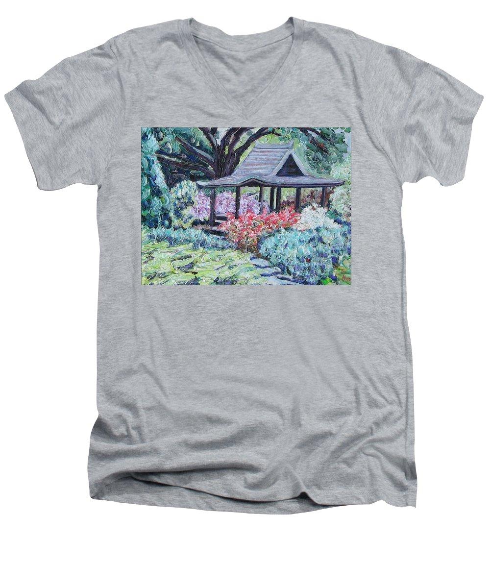 Garden Men's V-Neck T-Shirt featuring the painting Japanese Garden by Richard Nowak