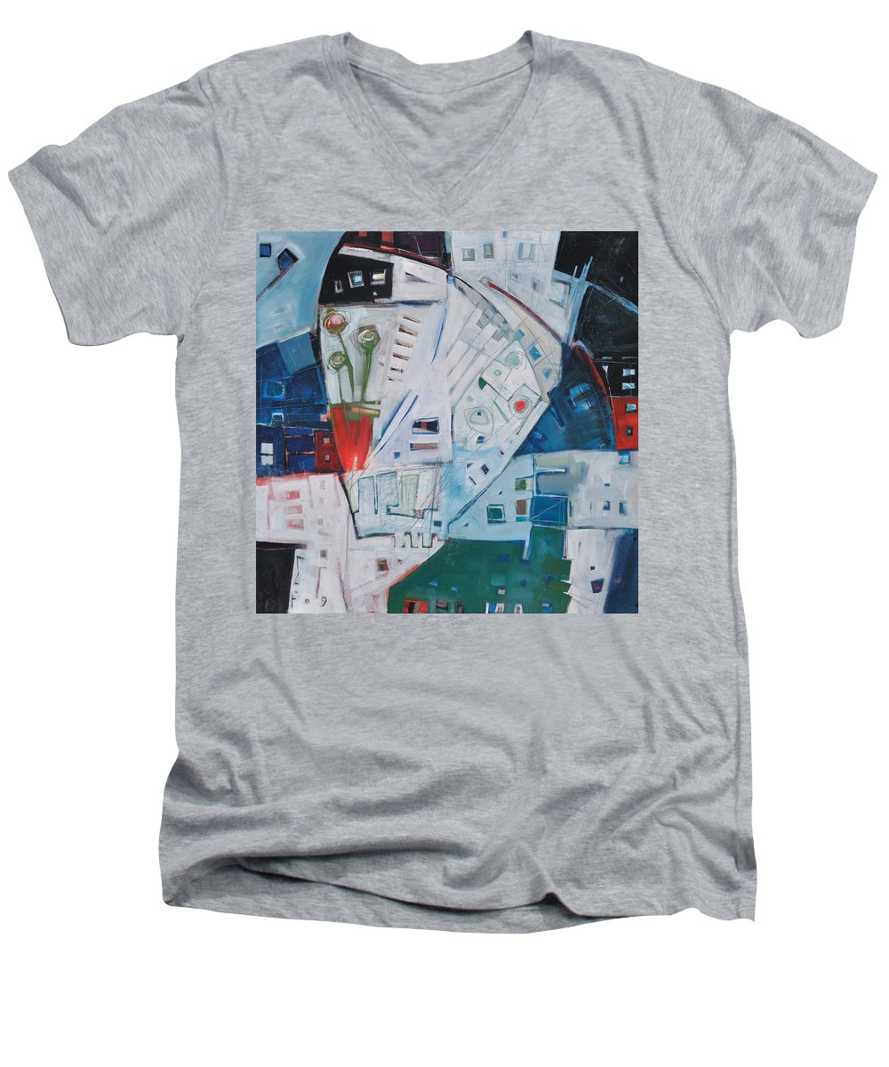 Jazz Men's V-Neck T-Shirt featuring the painting Jazz In Bloom by Tim Nyberg
