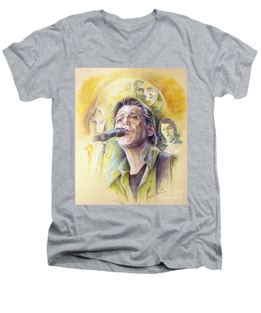 Jeff Christie Men's V-Neck T-Shirt featuring the painting Jeff Christie by Miki De Goodaboom