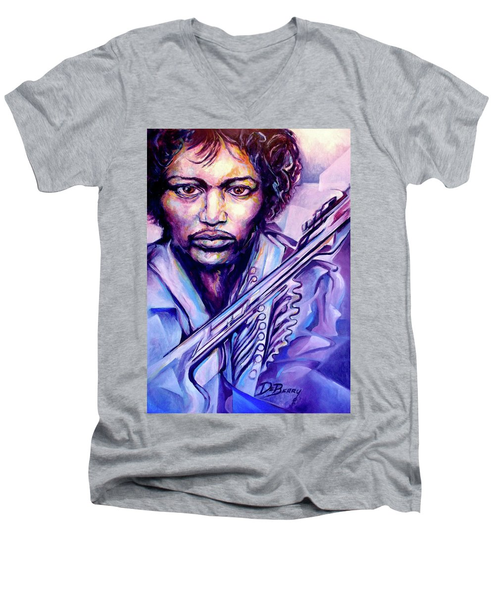 Men's V-Neck T-Shirt featuring the painting Jimi by Lloyd DeBerry