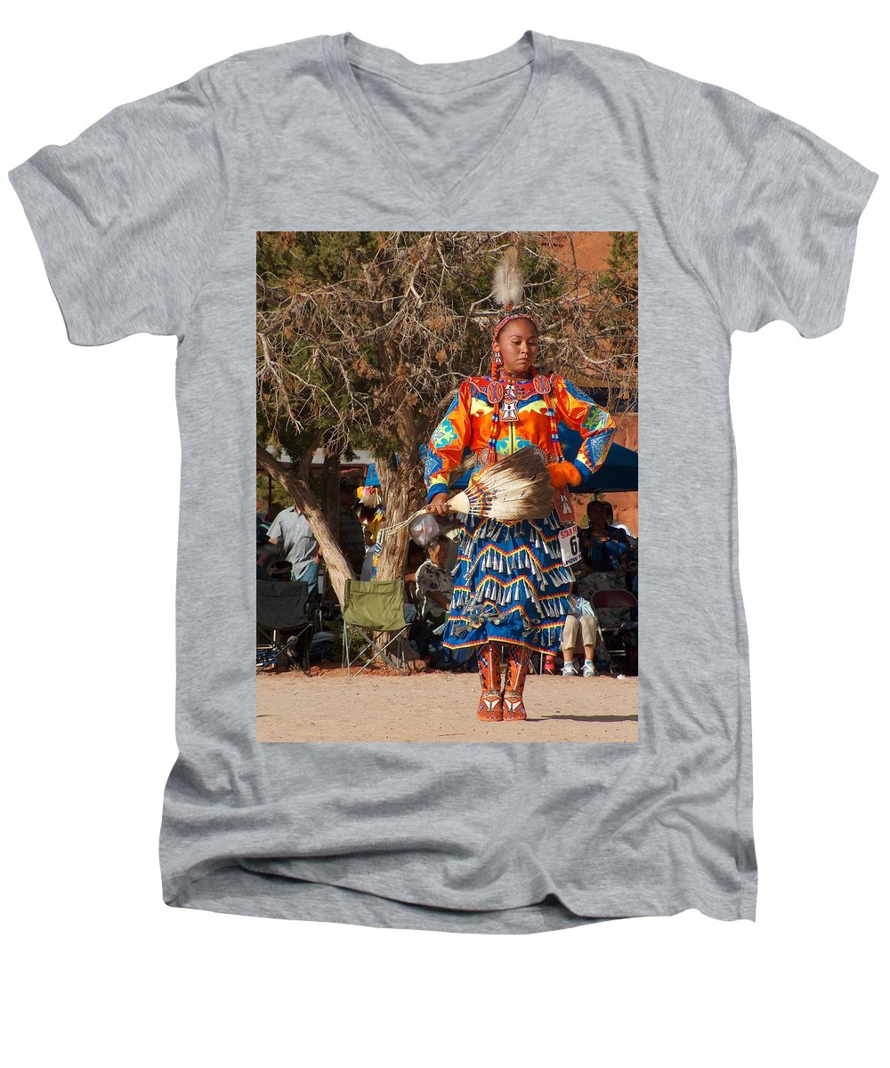 Pow-wow Dancer Men's V-Neck T-Shirt featuring the photograph Jingle Dress Dancer At Star Feather Pow-wow by Tim McCarthy