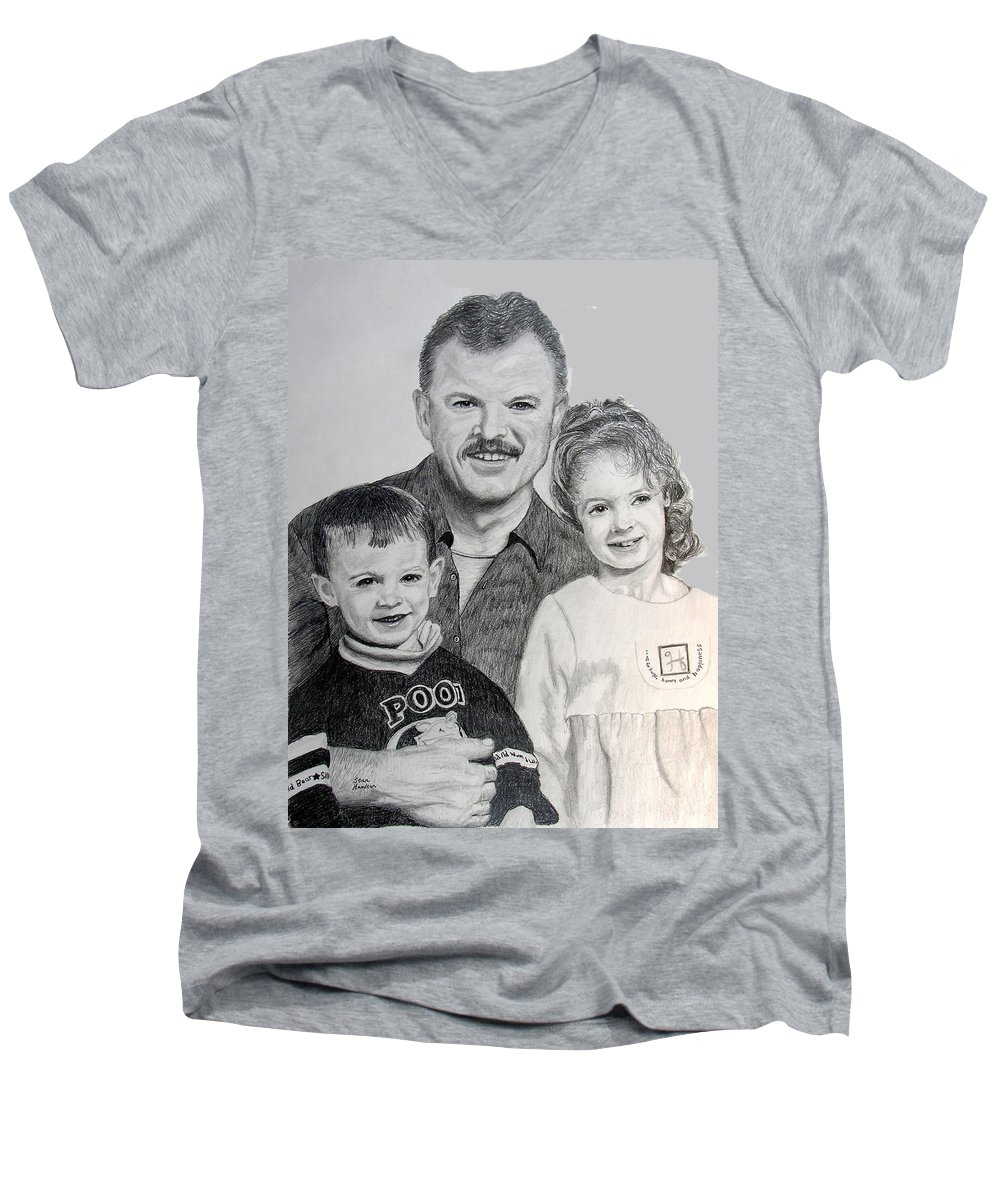 Portrait Men's V-Neck T-Shirt featuring the drawing John Megan And Joey by Stan Hamilton