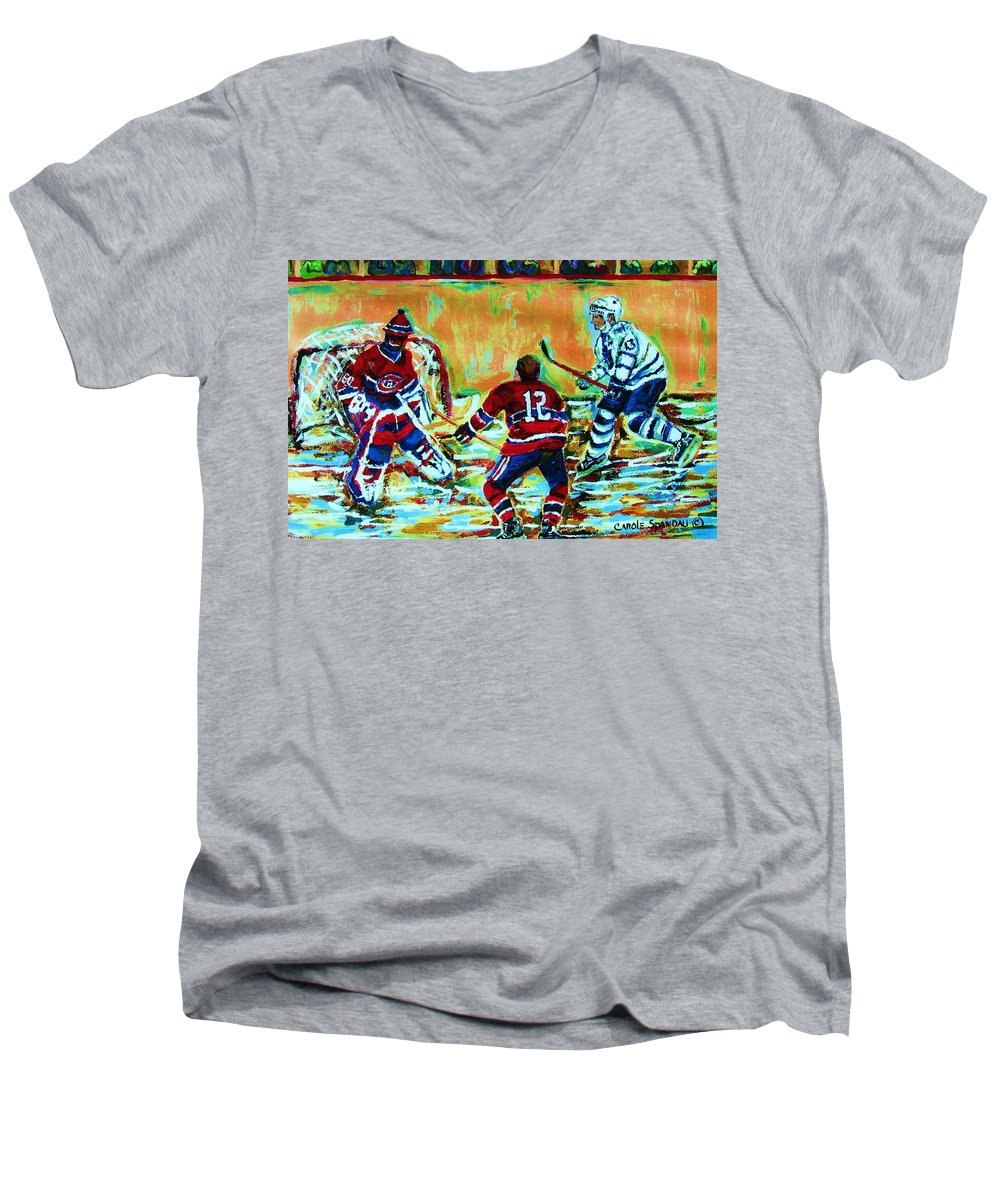 Hockey Canvas Prints Men's V-Neck T-Shirt featuring the painting Jose Theodore The Goalkeeper by Carole Spandau
