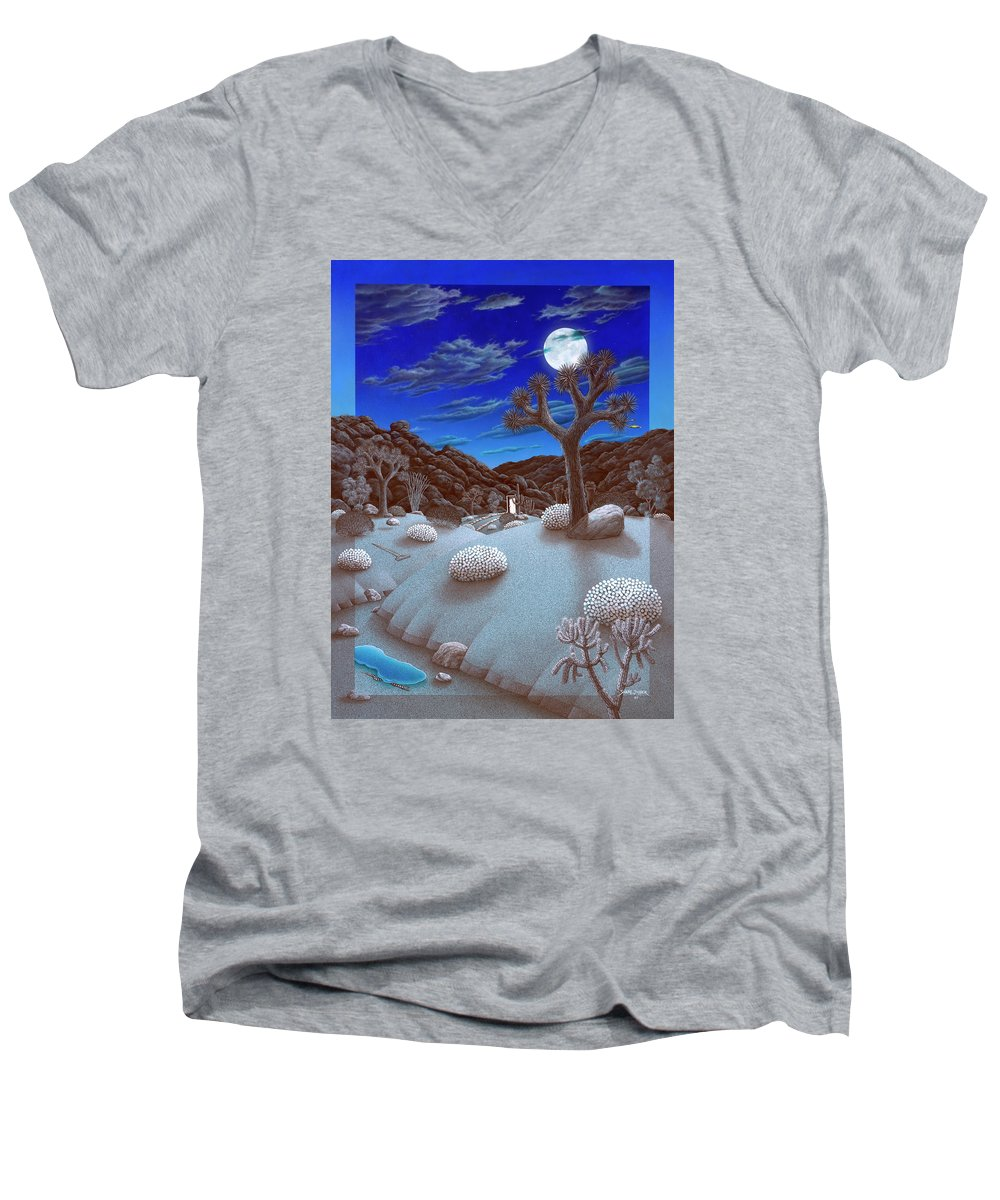 Landscape Men's V-Neck T-Shirt featuring the painting Joshua Tree At Night by Snake Jagger