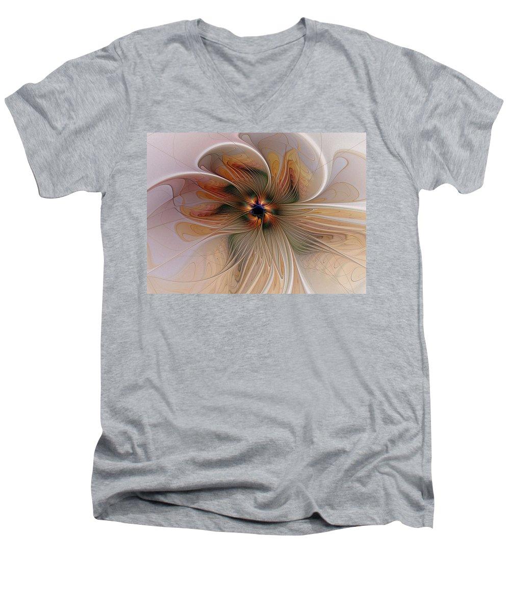 Digital Art Men's V-Neck T-Shirt featuring the digital art Just Peachy by Amanda Moore