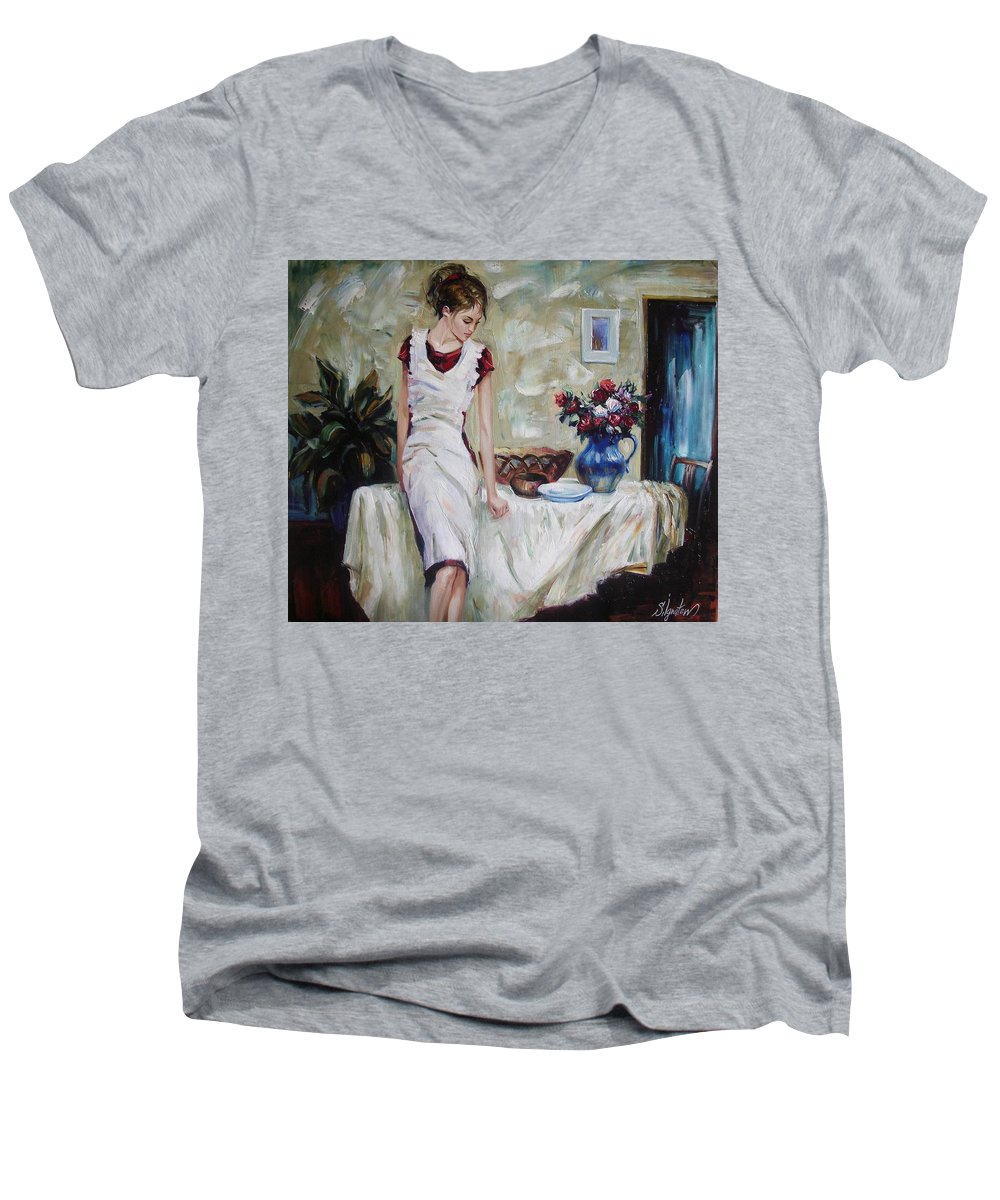 Figurative Men's V-Neck T-Shirt featuring the painting Just The Next Day by Sergey Ignatenko