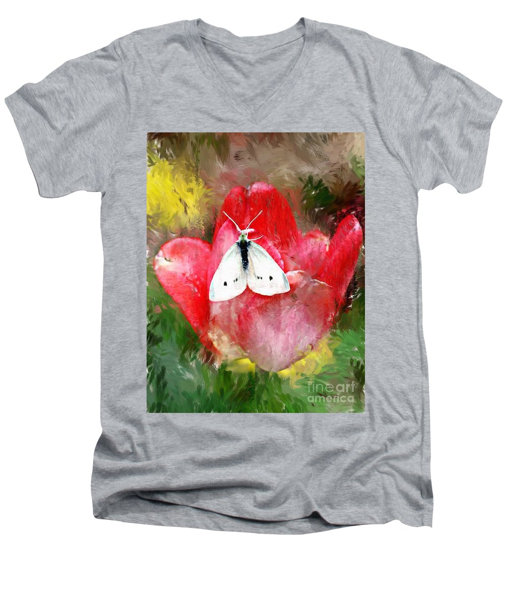 Digital Photo Men's V-Neck T-Shirt featuring the photograph Just Visiting by David Lane